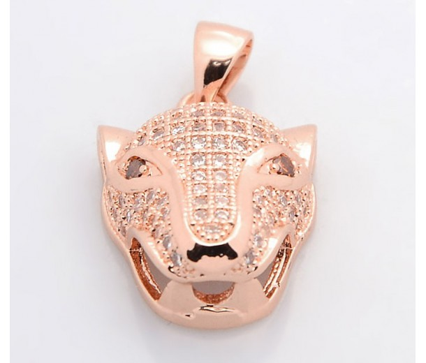 19mm Leopard Head Cubic Zirconia Pendant, Rose Gold Tone