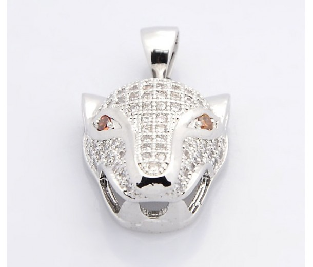 19mm Leopard Head Cubic Zirconia Pendant, Rhodium Finish