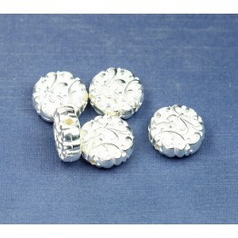 14mm Flat Fancy Metalized Plastic Beads, Bright Silver