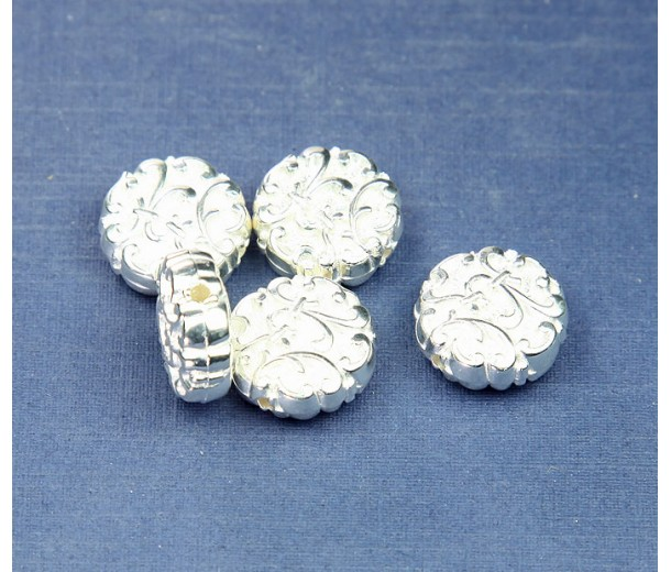 14mm Flat Fancy Metalized Plastic Beads, Bright Silver, Pack of 6
