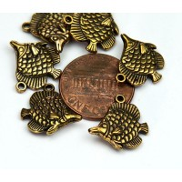 15mm Long Nose Fish Charms, Antique Gold, Pack of 6