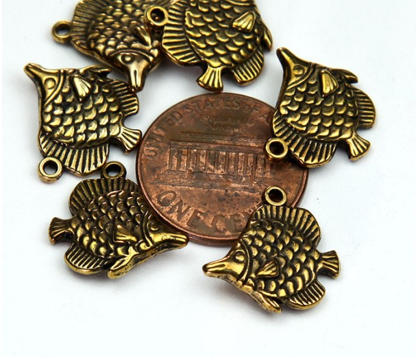 15mm Long Nose Fish Charms, Antique Gold
