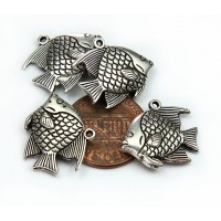 16mm Round Fish Charm, Antique Silver