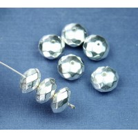 5x10mm Faceted Rondelle Metalized Beads, Bright Silver