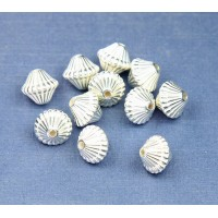 9mm Bicone Metalized Plastic Beads, Bright Silver, Pack of 20