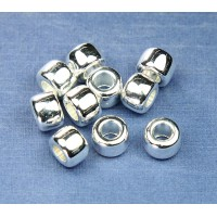 9x7mm Pony Metalized Plastic Beads, Bright Silver