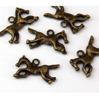12x22mm Running Horse Charms, Antique Brass