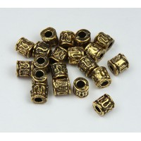 5mm Tiny Ornate Barrel Beads, Antique Gold