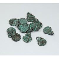 12x10mm Scallop Shell Pendant, Green Patina