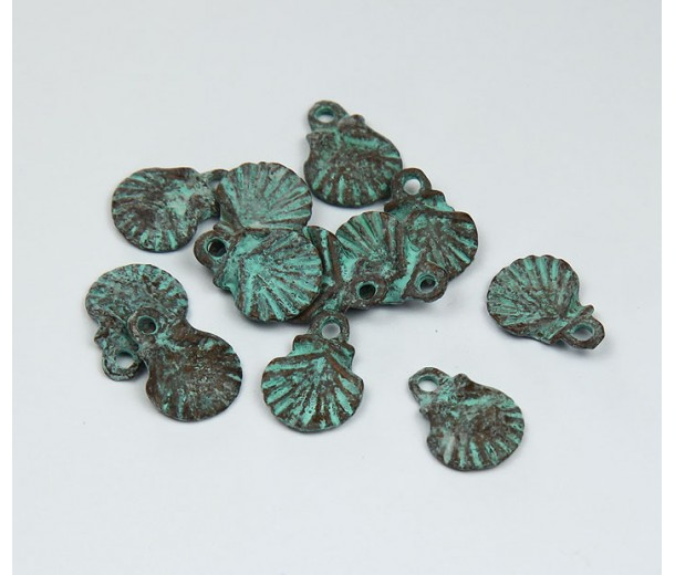 12x10mm Scallop Shell Pendant, Green Patina, Pack of 8
