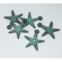 24mm Starfish Charms, Green Patina