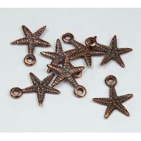 18mm Starfish Charms, Bronze, Pack of 5..