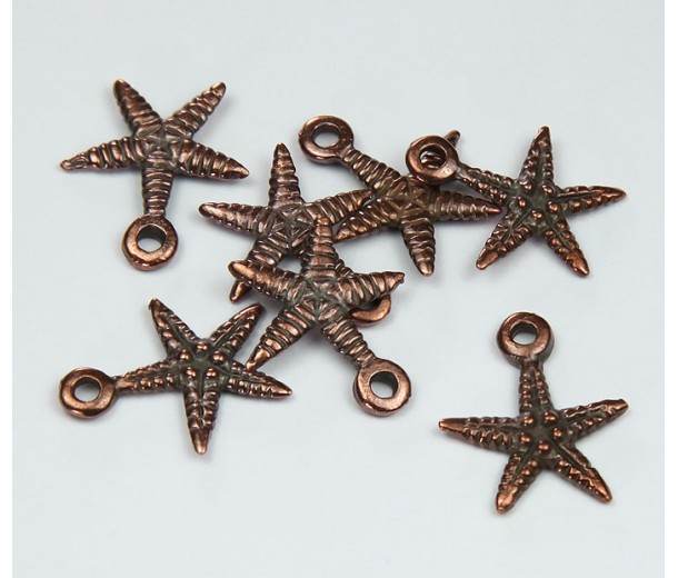 18mm Starfish Charms, Bronze, Pack of 5
