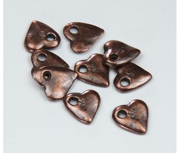 10mm Small Heart Charms, Bronze
