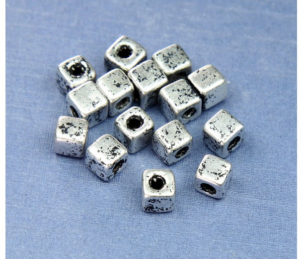 5mm Cube Metalized Ceramic Beads, Antique Silver, Pack of 10