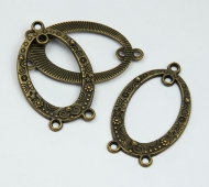 23x38mm Oval Chandelier Components, Antique Brass