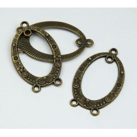 23x38mm Oval Chandelier Components, Antique Brass, Pack of 4