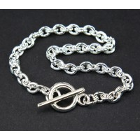 8.5 inch Thick Cable Chain Bracelet with Toggle Clasp, Silver Tone