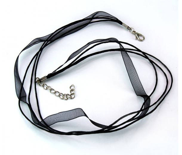 18 Inch Finished Choker Necklace, Multistrand, Black