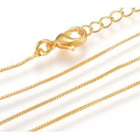 16 to 18 Inch Extendable Box Chain Necklace, 0.8mm Thick, Gold Plated