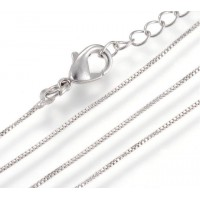 16 to 18 Inch Extendable Box Chain Necklace, 0.8mm Thick, Rhodium Plated