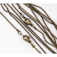 18 Inch Finished Ball Chain, 1.2mm Thick, Antique Brass