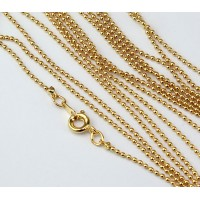 18 Inch Finished Ball Chain, 1.2mm Thick, Gold Plated