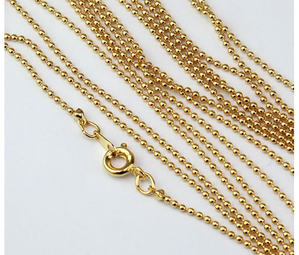 18 Inch Finished Ball Chain, Gold Plated