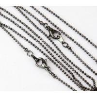 18 Inch Finished Ball Chain, 1.2mm Thick, Gunmetal