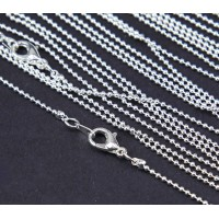 18 Inch Finished Ball Chain, 1.2mm Thick, Silver Plated