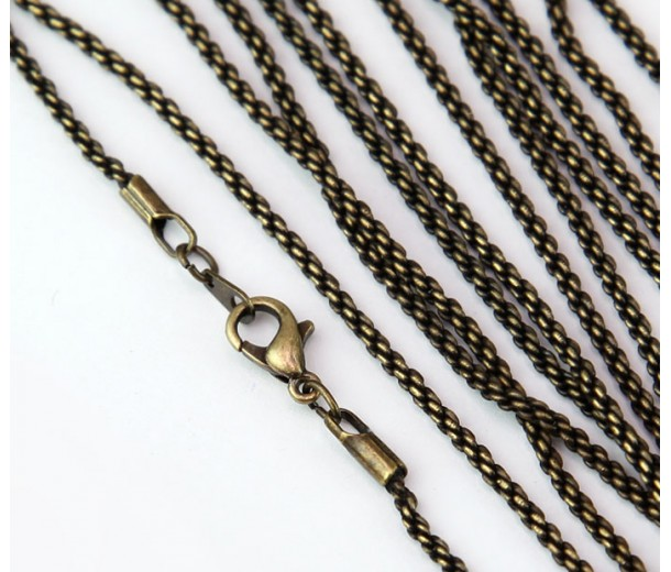 18 Inch Finished Rope Chain, Antique Brass