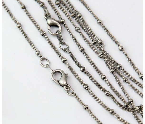 18 Inch Finished Satellite Chain, Antique Silver