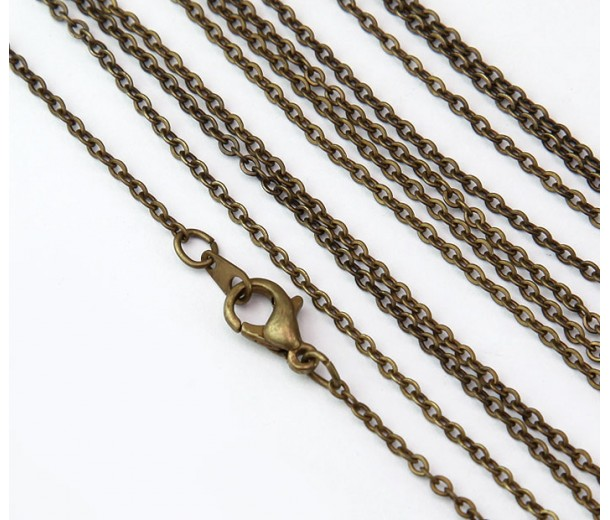 18 Inch Finished Filed Cable Chain, Antique Brass