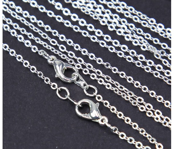 18 Inch Finished Filed Cable Chain, Silver Plated