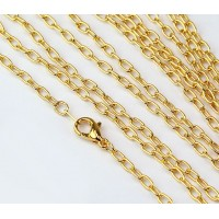 18 Inch Finished Drawn Cable Chain, Gold Plated