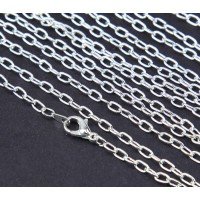 18 Inch Finished Drawn Cable Chain, Silver Plated
