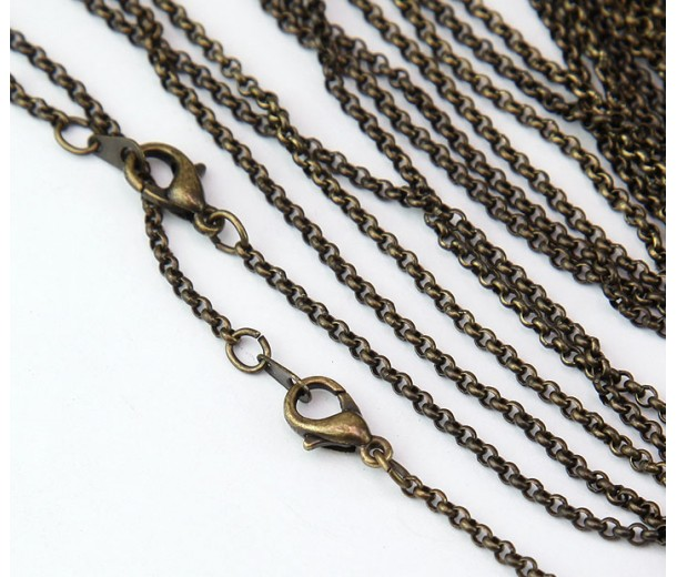 18 Inch Finished Rolo Chain, Antique Brass