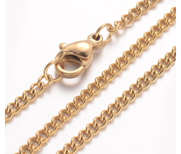 18 Inch Finished Curb Chain, 2mm Thick, Gold Tone Stainless Steel