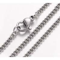 18 Inch Finished Curb Chain, 2mm Thick, Stainless Steel