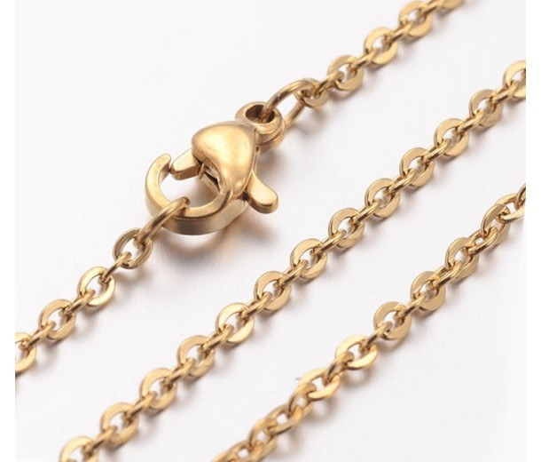 18 Inch Finished Cable Chain, 2mm Thick, Gold Tone Stainless Steel