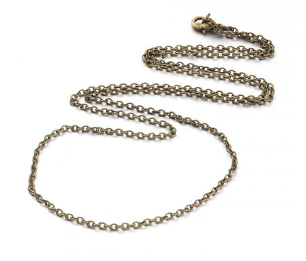 16 Inch Finished Regular Cable Chain, 3mm Thick, Antique Brass