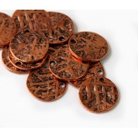 15mm Textured Disk Charms, Antique Copper