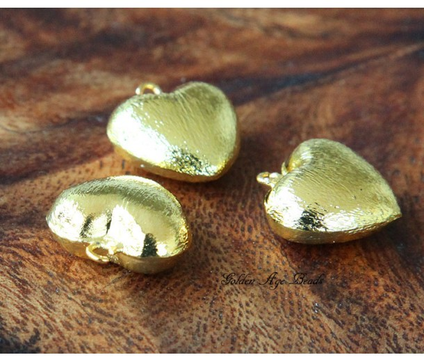 18mm Heart Stardust Charm, Gold Tone, 1 Piece