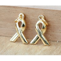 -15x10mm Awareness Ribbon Charms, Gold Plated, Pack of 6