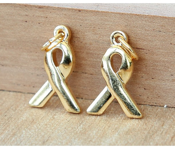 15x10mm Awareness Ribbon Charms, Gold Plated