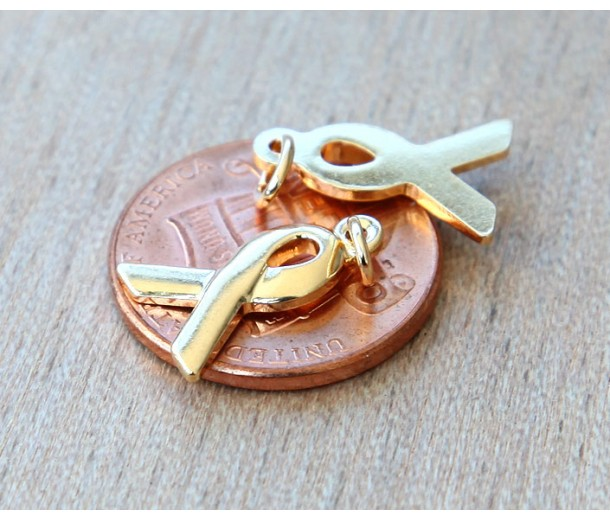 15x10mm Awareness Ribbon Charms, Gold Plated, Pack of 6