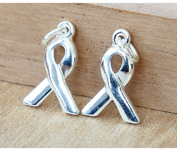 15x10mm Awareness Ribbon Charms, Silver Plated