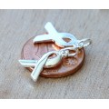 15x10mm Awareness Ribbon Charms, Silver Plated, Pack of 6