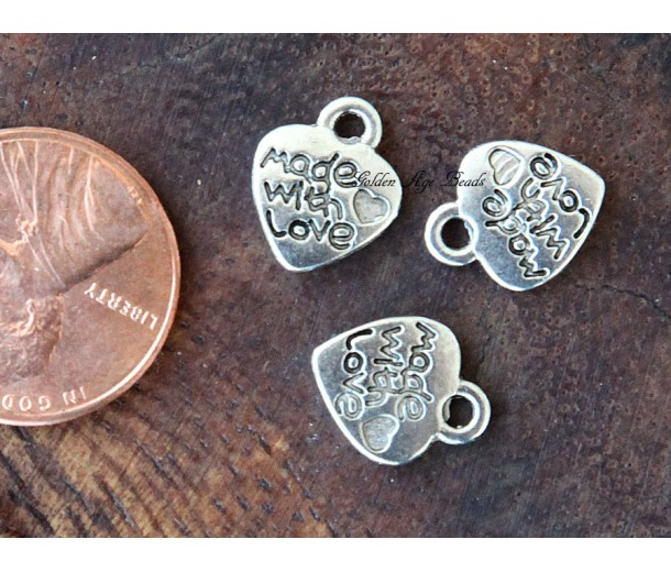 10mm Made With Love Heart Charms, Antique Silver