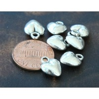 12mm Puff Heart Charms, Antique Silver, Pack of 10